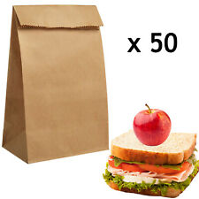 Paper Lunch Bags Eco-Friendly Greaseproof Unbleached 15 x 25cm - 50 Food Bags