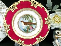 RIDGWAY 1840's hand painted bird & blossom red plate with open edges
