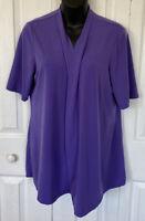 Susan Graver Artisan Womens Purple Short Sleeve Cardigan Size Medium