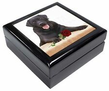 Black Labrador with Red Rose Keepsake/Jewellery Box Christmas Gift, AD-L86RJB