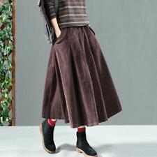 Womens Retro Corduroy Swing Pleated Skirt Loose Casual Baggy Midi Dress Spring