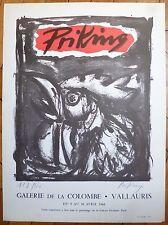 Franz Priking lithographie signée 1960 Vallauris le coq art brut expressionnisme