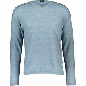 ARMANI JEANS Men's Linen & Wool Blend Relaxed Fit Jumper, Blue, size M