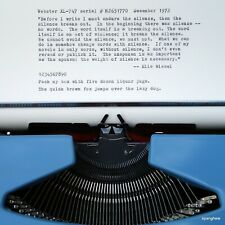 Webster XL-747 Typewriter - 1972 - w/case & new ribbon. Clean and working well.