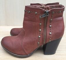 Women's New Look Brown Western Studded Style Ankle Boots Size 4 EUR 37