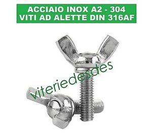 VITI DADI AD ALETTE FARFALLA GALLETTO ACCIAIO INOX DIN 316 AF M4 M5 M6 M8 M10