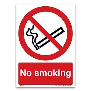 No smoking Sign - 1 mm Rigid Plastic Sign - Prohibition Smoking Safety