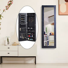 Mirrored Jewelry Cabinet Armoire Hanging Wall Mount Storage Organizer Lock Black