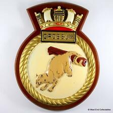 Large HMS Opossum S19 Submarine -Old British Navy ALUMINIUM Tampion Plaque Badge
