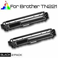 2pk BK TN221 TN-221 Black Toner For Brother MFC-9130CW, MFC-9330CDW, MFC-9340CDW