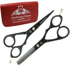 """5.5"""" Black Pro Barber Hair Cutting Thinning Shears Hairdressing Scissors Pouch"""