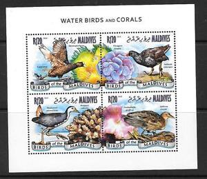 MALDIVE ISLANDS 2014 WATER BIRDS & CORALS (1) MNH