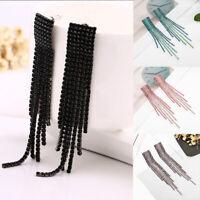 HOT Crystal Rhinestone Long Tassel Drop Dangle Earrings Women Earrings Wedding