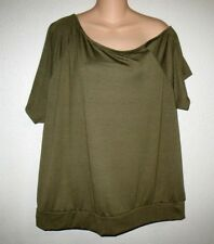 TORRID OLIVE  CALLIE CAP SLEEVE ONE COLD SHOULDER BLOUSE TUNIC TOP 2 (2X  18/20)