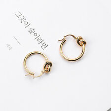Wholesale Gold/White Gold Plated Stylish Sleeper Knot Hoop Earrings