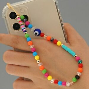 Phone Strap Lanyard Colorful Pearl Soft Pottery Rope Phone Case Hanging Cord Hot