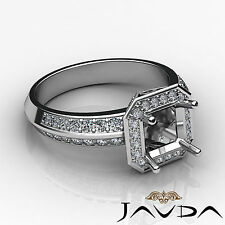 Diamond Halo Pave Engagement Ring Setting Asscher Semi Mount 14k White Gold 1Ct