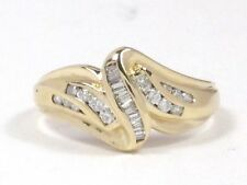 Diamond Right Hand Ring .52ct 14k Yellow Gold Round and Baguette