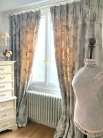 DESIGNER CURTAINS 100% SILK shabby chic TREE OF LIFE EMBROIDERY BLK interlined