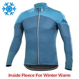 Thermal Cycling Jacket Jersey Long Sleeve Bike Winter Warm Fleece Shirt Coat Top