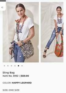 "NWT~Darling Cabi # 5992 Reversible ""Sling Bag"" in ""Happy Leopard"" Print"