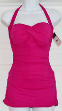 Ralph Lauren Halter Swimsuit One Piece Pink Bandeau SwimDress  Sz 12  (K22)