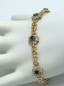 Vintage Ross Simons Tennis Bracelet 925 Sterling Silver Gold Plated Sapphire
