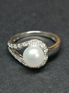 925 Silver Ring With Pearl UK Size N 1/4