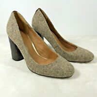 COACH Ophelia Lux Felt PUMP Ladies 6 B Taupe Fabric Croc High Heel Shoes