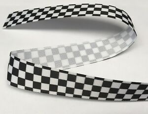 "1m CHEQUERED FLAG FORMULA 1 RACING POLICE RIBBON 7/8"" 22mm BOW CAKE BOARD"