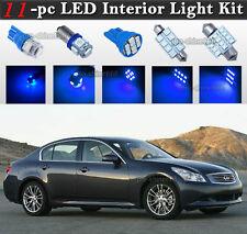 11-pc Blue LED Car Interior Light Bulbs Package Kit Fit 2007-2008 Infiniti G35