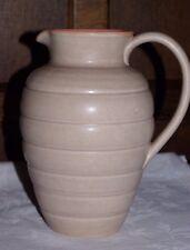"""Vintage Art Deco Studio Pottery Twin Tone 8"""" Vase Jug Pink Mushroom Stoneware"""