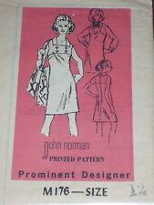 DESIGNER #M176- DESIGNER JOHN NORMAN - LADIES DRESS w/BUTTON ACCENT PATTERN 12FF