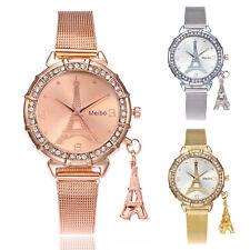 Fashion Women Eiffel Tower Crystal Formal Dress Quartz Analog Casual Wrist Watch