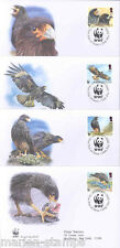 WORLD WILDLIFE FUND 2006 FALKLANDS HAWK SET OF FOUR FIRST DAY COVERS