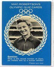 (Gm311-100) RARE, MacRobertsons, Shirley Strickland, Olympic Quiz 1964 EX