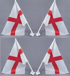 4 X St George Cross Car Flag 30cm X 4cm England Supporters World Cup