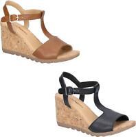 Hush Puppies PEKINGESE TSTRAP Ladies Summer Comfort Cosy Leather Wedge Sandals