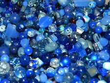 NEW 6/oz GLASS, Gem, Semiprecious, Stone 6-15mm DARK BLUES MIXED LOOSE BEADS LOT