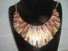 EGYPTIAN REVIVAL CLEOPATRA ENAMEL COLLAR BIB NECKLACE IN GIFT BOX