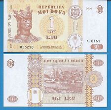 Moldova P-8 One Leu Year 2006 King Stefan Uncirculated Banknote