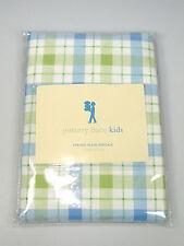 Pottery Barn Kids Standard blue green Spring Plaid Check one Pillowcase