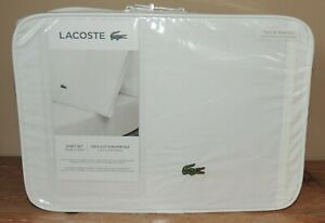 L@@K NEW LACOSTE ALLIGATOR TWIN XL 100% COTTON PERCALE SOLID SHEET SET WHITE $84