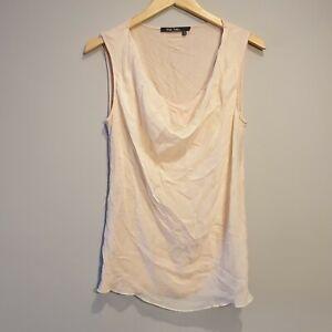 Marc Aurel Women Size 10 Pale Pink Silk Cowl Blouse Vest Top Smart Casual Summer