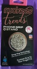 Knuckies Mobile Phone Grip and Stand 6018-White  Silver Drusy Phone Grip New