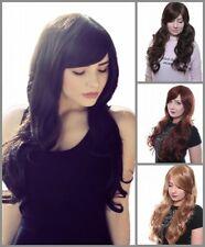 Prettyland lang-Haar gewellte natürlich Damen Perücke schwarz dunkel-braun blond