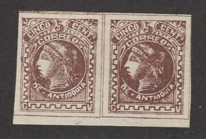 Antioquia Colombia States Scott #37 only 20,000 printed Scarce Pair Mint OG