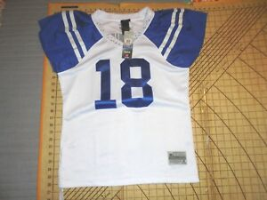 WOMENS LARGE BLUE/WHITE REEBOK/NFL COLTS MANNING #18 BLINGED JERSEY - NWT
