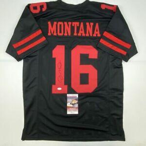 Autographed/Signed JOE MONTANA San Francisco Black Football Jersey JSA COA Auto
