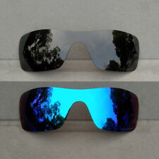 2 Pieces Black&Ice Blue Mirrored Replacement Lenses for-Oakley Batwolf Polarized